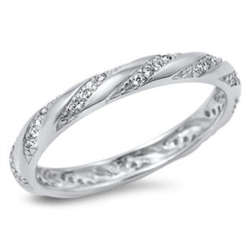 925 Sterling Silver CZ Simulated Diamond Diagonal Striped Twisted Eternity Ring 3MM