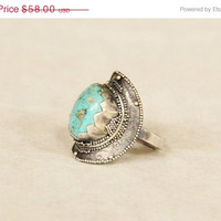 Navajo Sterling Ring, Turquoise, Ethnic, Cocktail, Chunky Ring, Precious stone, 925 Sterling Silver Ring, Boho, Rings, Tribal