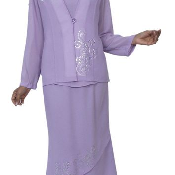 Hosanna 3980 Lilac Plus Size 3 PC Dress Set Tea Length Jacket Top