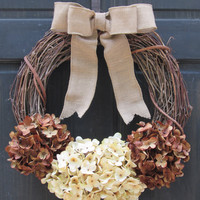Brown & Cream Hydrangea Wreath, Rustic Door Hanger, Fall Grapevine Wreath