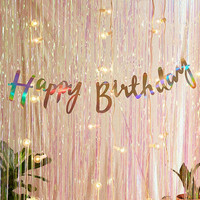 Ginger Ray Iridescent Foil Happy Birthday Banner | Urban Outfitters