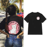 """Ripndip"" Fashion Male Female Cute Cat Letter Print Round Neck Short Sleeve Couple Cotton T-shirt"