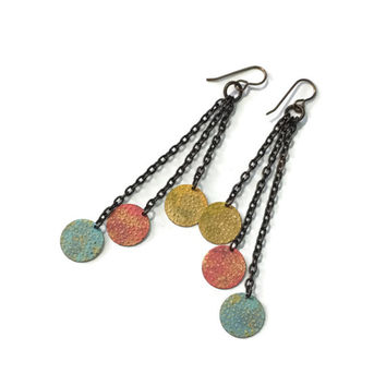 Hand painted discs Dangle Earrings