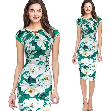 Elegant Women New Summer Fashion Vintage Office Business Sheath Pencil Dress Knee-Length Print Floral Bodycon Wear to Work Dress