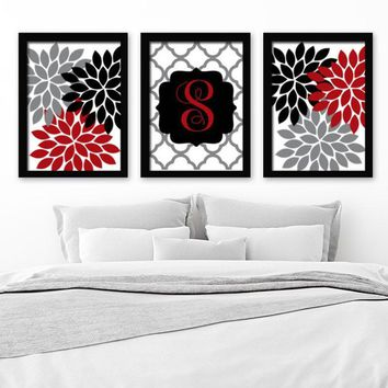 Red Black Gray Wall Art, Family Name Monogram, Red Black Bedroom Flower Wall Decor, Red Black Bathroom Art, CANVAS or Prints, Set of 3