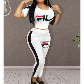 FILA Popular Woman Casual Print Short Sleeve Top Pants Set Two Piece Sportswear White