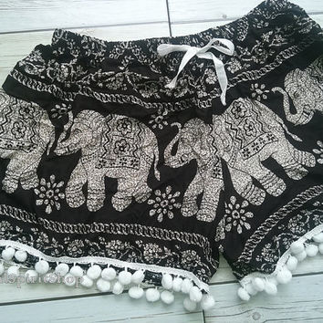 Pom pom Shorts Black Elephant Print Beach Summer Hippies Boho Chic Fashion Clothing Aztec Ethnic Bohemian Ikat Cute Shorts Pants For Women