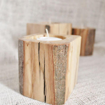 Rustic Candle Holder: Modern Candle Block Set of 3 Eco Friendly Wood Sustainable Harvested Timber with Tealights or Votives--Made to order