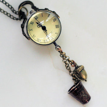 Thimble and Acorn Steampunk Peter Pan  Hidden Kisses Pendant Watch Necklace  - Peter Pan and Wendy