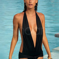 WowDresses — Sexy Black Halter Backless Swimwear