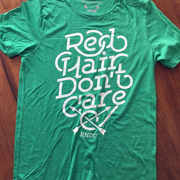 Red Hair Don't Care Fade Green Tee