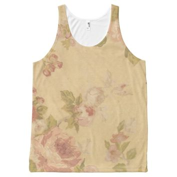 Roses Background Print All-Over Print Tank Top