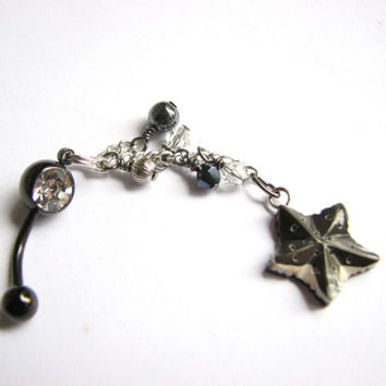 Black Long Belly Ring - Shell Star Fish Chain Dangle Beach Belly Button Jewelry Navel Piercing Bellybutton Ring