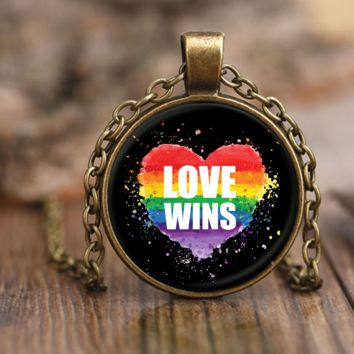 Love Wins Necklace by Living Gay | Gay Pride Necklace, LGBT Pride Necklace, Lesbian Pride Necklace