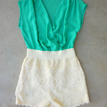 Green & Lace Romper