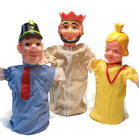 Hand Puppets . King, Princess and Policeman . Set of 3 . 1960's Toy . Puppet Theatre Doll . Vintage Story Telling .