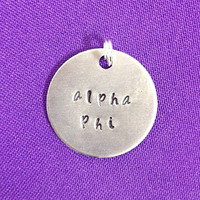 Hand Stamped Alpha Phi Charm