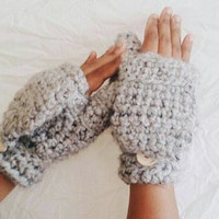Crochet wool mittens, Convertible winter mittens for women, Fingerless gloves - Grey wool mittens