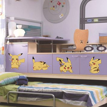 Removable  DIY 11pcs Cute Picachu Peel Wall Sticker Kids Child Baby Nursery Game Room Wall DecorKawaii Pokemon go  AT_89_9