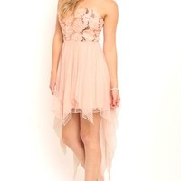 Strapless High Low Dress with Floral Sequin Bodice