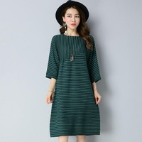 Autumn Winter New Style Medium Style Stripe Pattern Patchwork Print Loose Large Yards Three Quarter Sleeve A-Line Dress