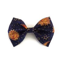 Celestial Sun Bow • Galaxy Hair Bow • Gold Sun Bow • Constellation bow • Moon and stars bow • Sun and stars bow • Gifts for girls • Sun bow
