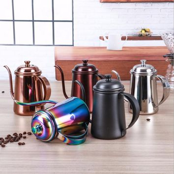 1Pc 650ML Colorful Stainless Steel Coffee Pot Long Mouth Coffee Pot Teapot Gooseneck Spout Kettle Drip Coffee Kettle