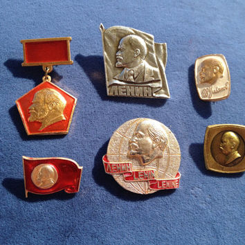Set of 6 Soviet vintage Lenin Komsomol communist pin ussr collectibles collector
