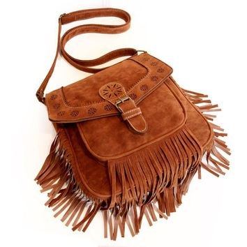 2015 Autumn and winter Women Faux Suede Fringe Tassels  Handbags  vintage tassel cross-body bag bohemia cutout ladies handbag