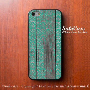 IPHONE 5S CASE Teal Damask On Wooden Byzantine Middle Age iPhone Case iPhone 5 Case Samsung Galaxy S4 S3 Cover iPhone 5c iPhone 4s iPhone 4