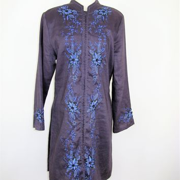 Le Gary Good Luck Linen Beaded & Embroidered Kaftan Tunic Top L