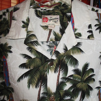 Amazing Vintage Hawaiian Shirt  Hilo HATTIES White W Palms And Surf  Cotton Size 2XL Made in USA