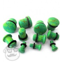 Gutter Green Stone Plugs | Single Flares | UrbanBodyJewelry.com