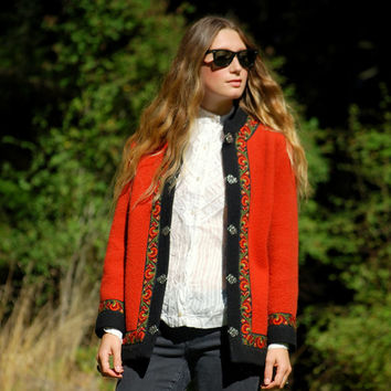 70's Norwegian Sweater Coat, Red Scandinadian Folk Embroidered Wool Jacket With Metal Clasps Nordic Cardigan Sweater, By FIRDA NORWAY, LARGE