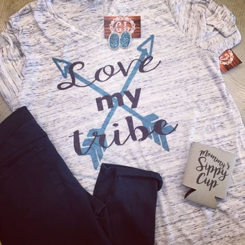 Love My Tribe turquoise with arrows t-shirt