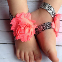 25% OFF all orders Aztec Baby Barefoot Sandals….Baby Barefoot Sandals…Baby Pink Flower Sandals