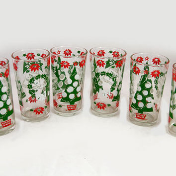 Christmas Glasses Set of Six Hazelware New In Box - Vintage Christmas Barware -  Merry Christmas, Happy New Year Holiday Party Glasses