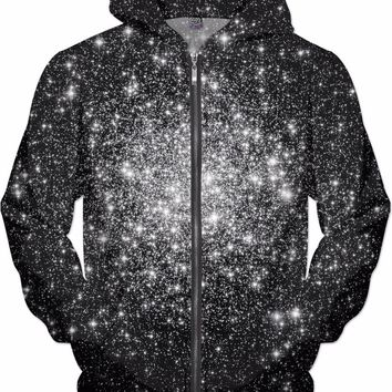 Black & White Cluster Galaxy | Universe Galaxy Nebula Star Clothes | Rave & Festival Shirt