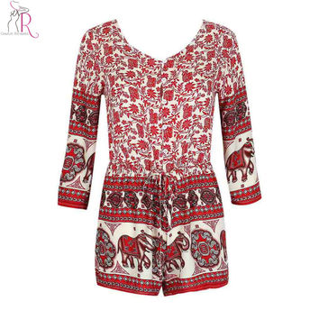 Women Summer Style Jumpsuit Romper Playsuit Overalls Floral Aztec Folk Elephant Prints Half Sleeve Casual Romper