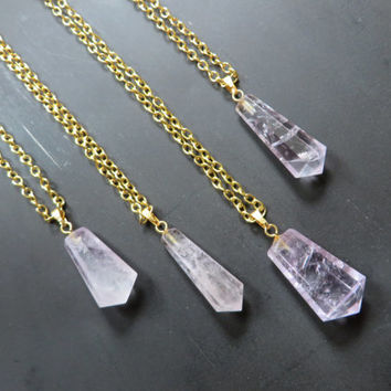 Light Amethyst Crystal Point Necklace- Gold Adjustable Chain Raw Rough Natural Purple Quartz Stone Charm Pendant Choker