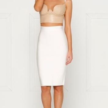 High Riviera Beige Sleeveless Spaghetti Strap PU Faux Leather Bustier V Neck Crop Top