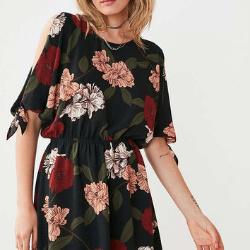 Kimchi Blue Cold Shoulder Floral Blouson Mini Dress - Urban Outfitters