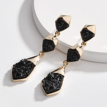 Black and Gold Color Druzy Dangle Earring