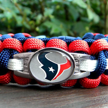 Custom Handmade Houston Texans Team Paracord Bracelet with an Officially Licensed NFL Charm