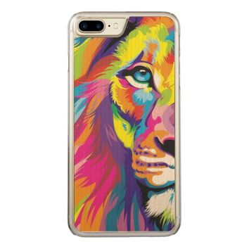 Colorful Lion Carved iPhone 7 Plus Case