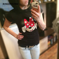 Fashion Summer T shirt Women Striped mouse T Shirts Short Sleeve Cartoon Tee Anchor Printed Tops Cotton Owl T-Shirts lady tops