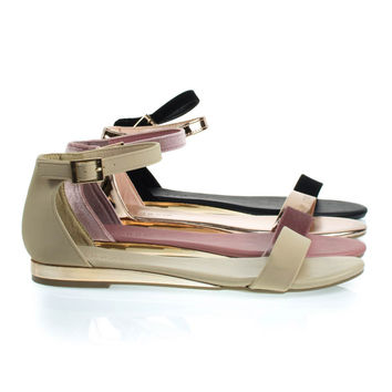 Interest21 Nude By Bamboo, Flat Sandal w Slightly Elevated Mirror Metallic Wedge