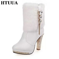 HTUUA Women Boots 2017 Winter Boots Black White PU Leather Rabbit Fur Short Ankle Boots Warm Plush High Heels Shoes 35-41 SX616