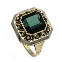 Tourmaline Ring, Art Deco, Green, 14K Gold