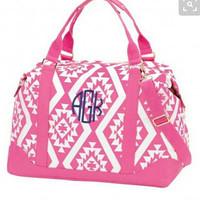 SALE Monogrammed Pink Aztec Weekend Bag.